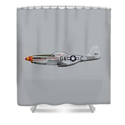 Nooky Booky I V - P-51 D Mustang Shower Curtain by Ed Jackson