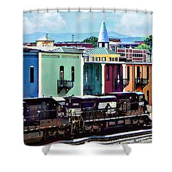 Norfolk Va - Train With Two Locomotives Shower Curtain