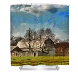 Shower Curtain featuring the mixed media Norman's Homestead by Trish Tritz