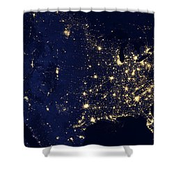 North America At Night Shower Curtain