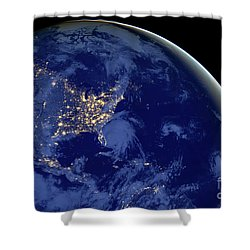 North America From Space Shower Curtain by Delphimages Photo Creations