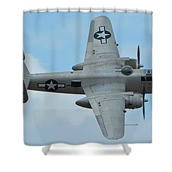 Shower Curtain featuring the photograph North American B-25j Mitchell N9856c Pacific Princess Chino California April 30 2016 by Brian Lockett