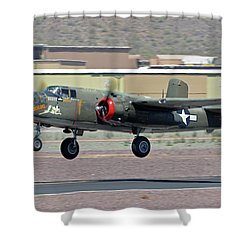 Shower Curtain featuring the photograph North American B-25j Mitchell Nl3476g Tondelayo Deer Valley Arizona April 13 2016 by Brian Lockett
