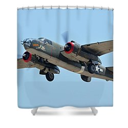 North American B-25j Mitchell Nl3476g Tondelayo Phoenix-mesa Gateway Airport Arizona April 15, 2016 Shower Curtain by Brian Lockett
