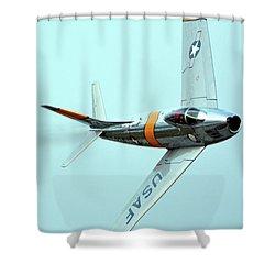 North American F-86f Sabre Nx186am Chino California April 29 2016 Shower Curtain by Brian Lockett