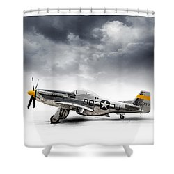 Shower Curtain featuring the digital art North American P-51 Mustang by Douglas Pittman