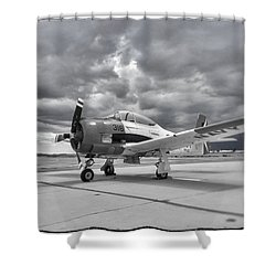 North American T-28 Shower Curtain by Douglas Castleman