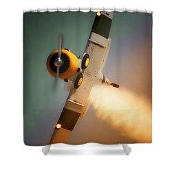 North American T-6 Texan John Collver Air Shows Shower Curtain