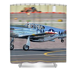 Shower Curtain featuring the photograph North American Tp-51c-10 Mustang Nl251mx Betty Jane Deer Valley Arizona April 13 2016 by Brian Lockett