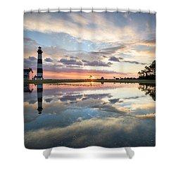 North Carolina Bodie Island Lighthouse Sunrise Shower Curtain by Mark VanDyke