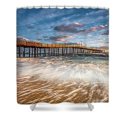 North Carolina Outer Banks Nags Head Pier Seascape At Sunrise Shower Curtain