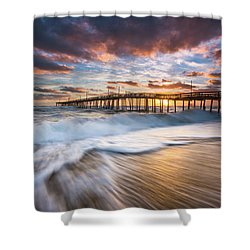 North Carolina Outer Banks Seascape Nags Head Pier Obx Nc Shower Curtain