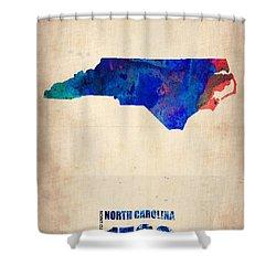 North Carolina Watercolor Map Shower Curtain by Naxart Studio