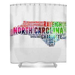 North Carolina Watercolor Word Cloud Map Shower Curtain