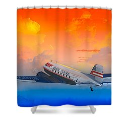 North Central Dc-3 At Sunrise Shower Curtain by J Griff Griffin
