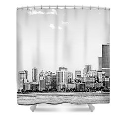 North Chicago Skyline Panorama In Black And White Shower Curtain by Paul Velgos