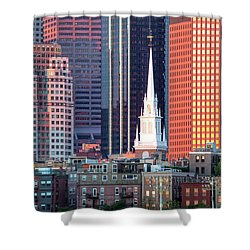 North Church Steeple Shower Curtain by Susan Cole Kelly