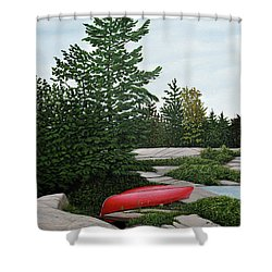 North Country Canoe Shower Curtain by Kenneth M  Kirsch