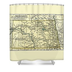 North Dakota Antique Map 1891 Shower Curtain