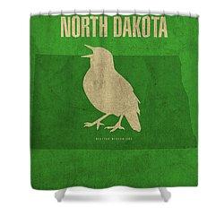 North Dakota State Facts Minimalist Movie Poster Art Shower Curtain by Design Turnpike