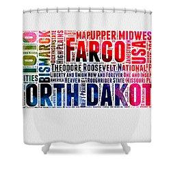 North Dakota Watercolor Word Cloud Shower Curtain