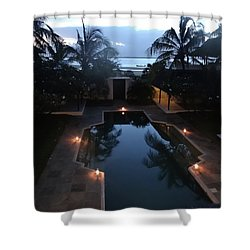 North - Eastern African Home - Sundown Over The Swimming Pool Shower Curtain