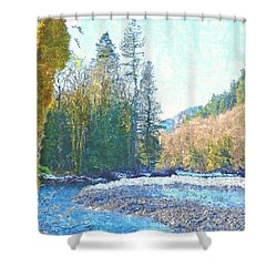 North Fork Of The Skykomish River Shower Curtain by Tobeimean Peter