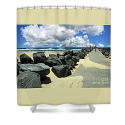 North Haven Breakwater Walkway By Kaye Menner Shower Curtain