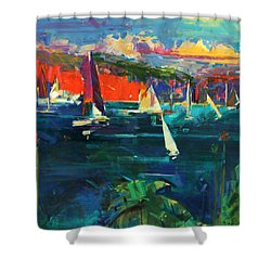North Head  Sydney Harbour Shower Curtain by Peter Graham
