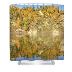 North Saskatchewan River Reflections Shower Curtain by Jim Sauchyn