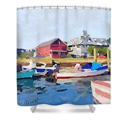 North Shore Art Association At Pirates Lane On Reed's Wharf From Beacon Marine Basin Shower Curtain by Melissa Abbott