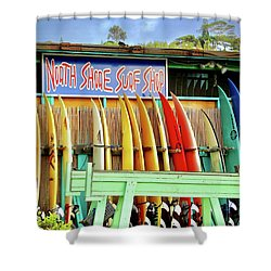 North Shore Surf Shop 1 Shower Curtain by Jim Albritton
