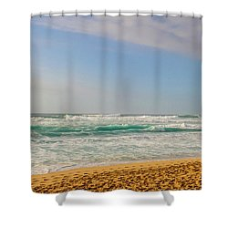 North Shore Waves In The Late Afternoon Sun Shower Curtain