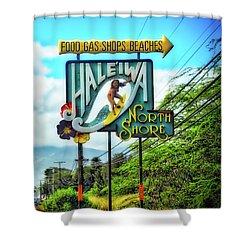 North Shore's Hale'iwa Sign Shower Curtain by Jim Albritton