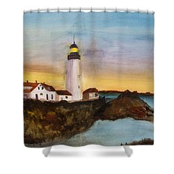Shower Curtain featuring the painting North Truro Light House Cape Cod by Donna Walsh