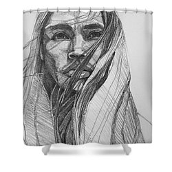 Shower Curtain featuring the drawing North Wind  by Jani Freimann