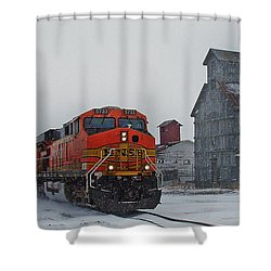 Northbound Winter Coal Drag Shower Curtain by Ken Smith
