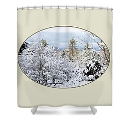 northeast USA photography button Shower Curtain