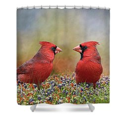 Northern Cardinals In Sea Of Flowers Shower Curtain by Bonnie Barry
