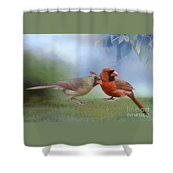 Northern Cardinals On A Spring Day Shower Curtain by Bonnie Barry