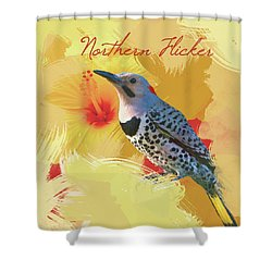 Shower Curtain featuring the photograph Northern Flicker Watercolor Photo by Heidi Hermes
