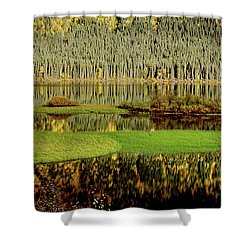 Northern Lake Shower Curtain by Mark Duffy