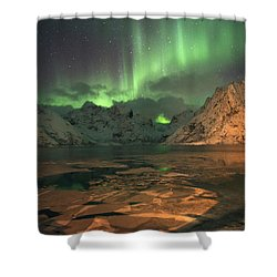 Northern Light In Lofoten, Nordland 1 Shower Curtain by Dubi Roman