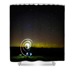 Northern Lights And Night Writing Shower Curtain