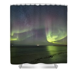 Northern Lights At The Beach II Shower Curtain