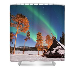 Shower Curtain featuring the photograph Northern Lights By The Lake by Delphimages Photo Creations
