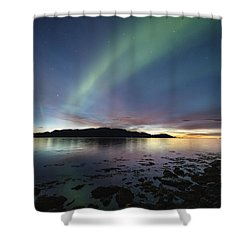 Northern Lights Meet Sunset Shower Curtain
