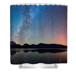 Northern Lights Over Jackson Lake Shower Curtain