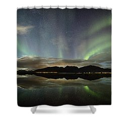 Northern Lights Panorama Shower Curtain