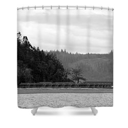 Shower Curtain featuring the photograph Northwest Beach Cabins by Erin Kohlenberg